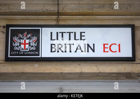 LONDON, UK - AUGUST 11TH 2017: A street sign for Little Britain in the City of London, on 11th August 2017. - Stock Photo