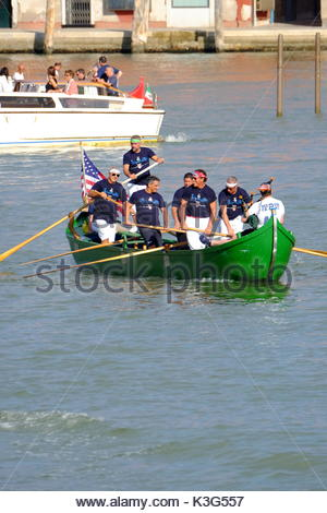 Venice, Italy. 2nd Sep, 2017. Firefighter participate in a Gondola race in Venice, Italy on September 02, 2017 as - Stock Photo