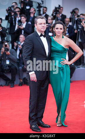 Venice, Italy. 2nd Sep, 2017. Actor Matt Damon (L) and his wife Luciana Barroso attend the premiere of the movie - Stock Photo