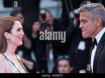 Venice, Italy. 2nd Sep, 2017. Actress Julianne Moore (L) and director George Clooney attend the premiere of the - Stock Photo