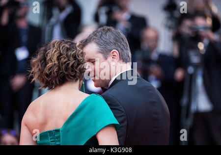 Venice, Italy. 2nd Sep, 2017. Actor Matt Damon (R) and his wife Luciana Barroso attend the premiere of the movie - Stock Photo