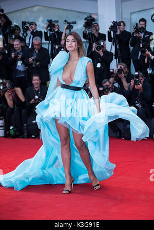 Venice, Italy. 2nd Sep, 2017. A guest poses on the red carpet for the premiere of the movie 'Suburbicon' in competition - Stock Photo