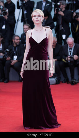 Venice, Italy. 2nd Sep, 2017. Actress Caterina Shulha poses on the red carpet for the premiere of the movie 'Suburbicon' - Stock Photo