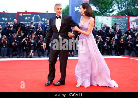 Venice, Italy. 02nd Sep, 2017. George Clooney and his wife Amal Alamuddin attending the 'Suburbicon' premiere at - Stock Photo