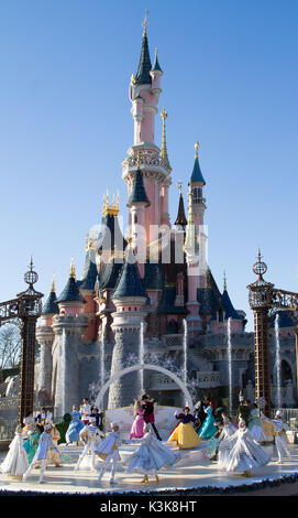 Royal Christmas wishes in Disneyland Paris Marne La Vallee France - Stock Photo