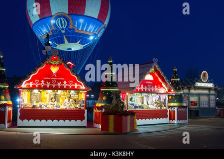 Christmas chalets at Disney Village Paris Marne La Vallee - Stock Photo