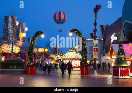 Christmas markets at Disney Village Paris Marne La Vallee - Stock Photo
