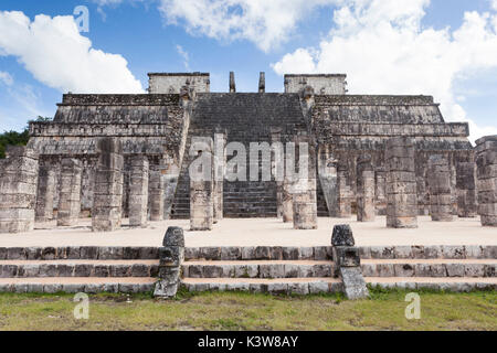 Temple of a Thousand Warriors, Chichen Itza archeological site, Yucatan, Mexico. - Stock Photo