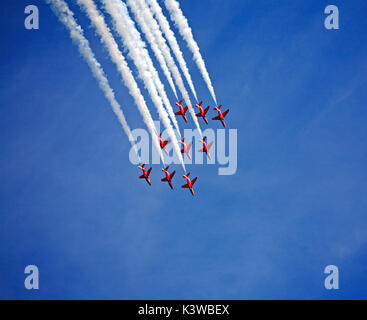The Red Arrows Royal Air Force Aerobatic Team arriving at Norwich Airport after displaying at Clacton Air Show. - Stock Photo
