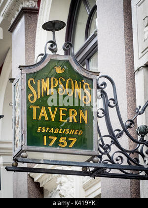 Simpsons Tavern sign in Ball Court, Cornhill in the City of London Financial District. The tavern was founded in - Stock Photo