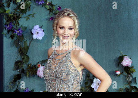 London, UK. 06th Sep, 2017. Jennifer Lawrence, Mother! - UK Film Premiere, Leicester Square, London UK, 06 September - Stock Photo