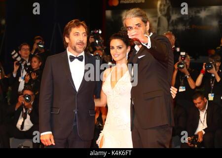 ITALY, Venice: From right Director Fernando Leon de Aranoa, Actress Penelope Cruz, Actor Javier Bardem attends during - Stock Photo