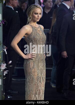 London, Grossbritannien. 06th Sep, 2017. Jennifer Lawrence attends MOTHER! UK Premiere - London, England (06/09/2017) - Stock Photo