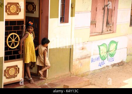 Unidentified children in rural village at India. - Stock Photo
