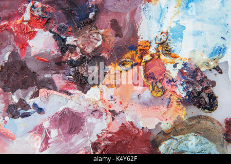 Abstract art background. Oil painting on canvas. Multicolored bright texture. Fragment of artwork. Spots of oil - Stock Photo