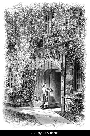 1870: Cook entering the Gateway of Jesus College, established 1516,  is a constituent college of the University - Stock Photo