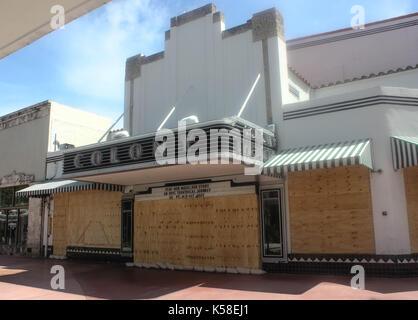 Miami Beach, Deserted, Pre Hurricane Irma, September 8, 2017, Ghost town - Stock Photo