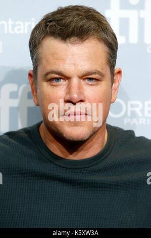 Toronto, Canada. 10th Sep, 2017. Matt Damon during the 'Suburbicon' photocall during the 42nd Toronto International - Stock Photo