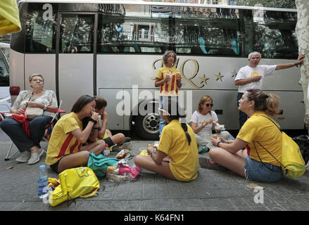 Barcelona, Spain. 11th Sep, 2017. People from all provinces of Catalonia came to celebrate the National Day of Catalonia - Stock Photo