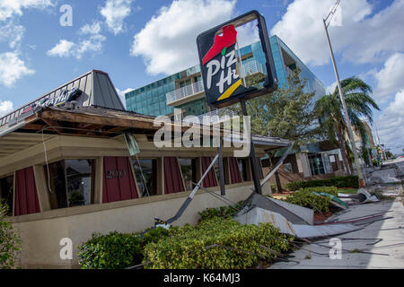 Miami, Florida, USA. 11th Sep, 2017. A Pizza Hut restaurant heavily damaged by Hurricane Irma is seen in Miami, - Stock Photo