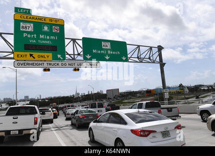 Miami, USA. 11th Sep, 2017. Traffic jam is seen on State Road A1A after Hurricane Irma swept through the area, in - Stock Photo
