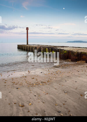 A small pier at Lodmoor on Weymouth Beach in Dorset. - Stock Photo