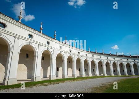Close view of side arcade of Villa Manin palace, near Udine, Friuli, Italy - Stock Photo