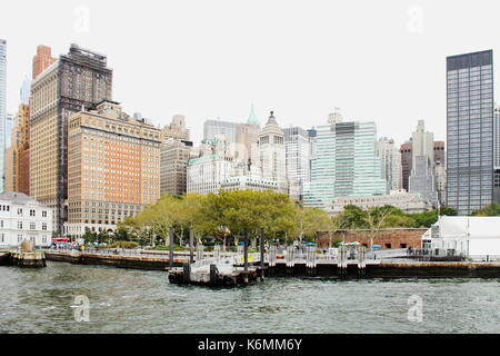 New York, USA - 28 September, 2016: Cityscape view of buildings lining Battery Park in Lower Manhattan. - Stock Photo