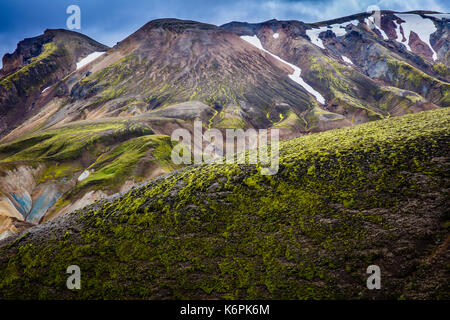 Landmannalaugar is a place in the Fjallabak Nature Reserve in the Highlands of Iceland. It is at the edge of Laugahraun - Stock Photo
