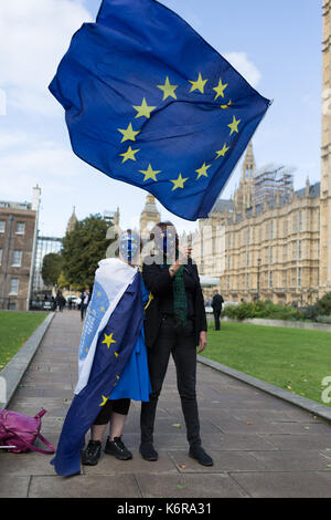 London, UK. 13th Sep, 2017. Pro-EU Remain voters waving EU flag outside Westminster ahead of the 3Million CitizensLobby17 - Stock Photo
