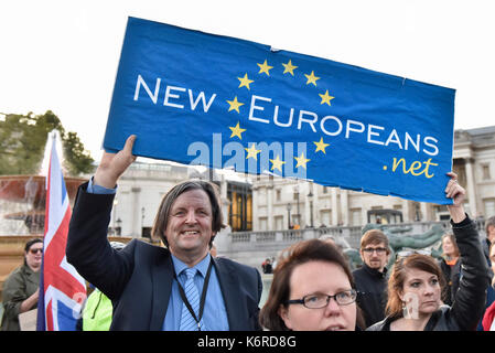 London, UK. 13th Sep, 2017. People gather in Trafalgar Square for a rally campaigning to protect and maintain the - Stock Photo