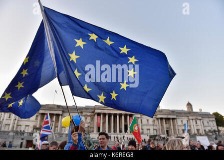 London, UK. 13th Sep, 2017. People gather to attend a rally at Trafalgar Square in London, Britain on Sept. 13, - Stock Photo