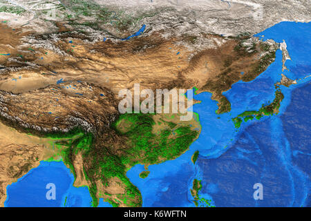 Physical map of East Asia. Detailed satellite view of the Earth and its landforms. Elements of this image furnished - Stock Photo