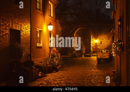 Inside the Fortress Zons (Feste Zons) during christmas time. - Stock Photo