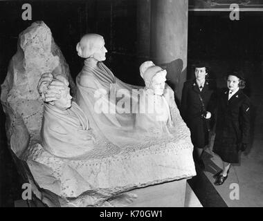 In the crypt below the Rotunda of the US Capitol is this 8-ton statue - a tribute to three American women's rights - Stock Photo