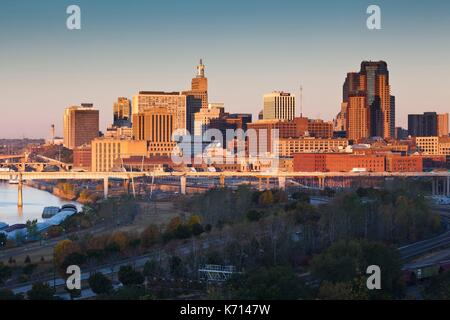 United States, Minnesota, Minneapolis, St. Paul, elevated skyline from Indian Mounds, dawn - Stock Photo