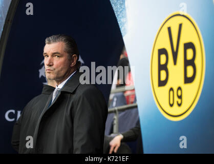 London, UK. 13th Sep, 2017. Dortmund's sports director Michael Zorc ahead of the Champions League group stages soccer - Stock Photo
