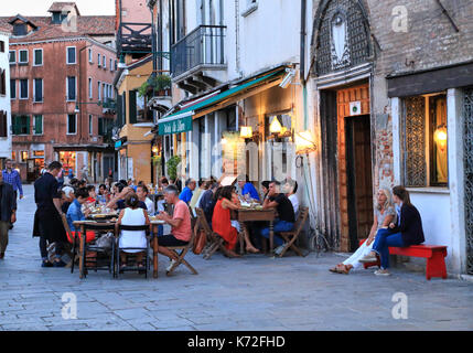 Osteria alla Bifora - Italian cafe bar restaurant at campo Santa Margherita, Venice - Stock Photo