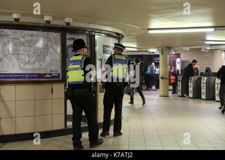 London, UK. 15th Sep, 2017. Police officers in Leicester Square underground station as security is increased in - Stock Photo