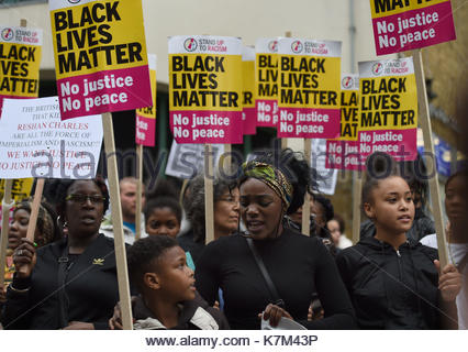 File photo dated 24/07/17 of members of Hackney Stand Up To Racism protesting outside Stoke Newington Police Station, - Stock Photo