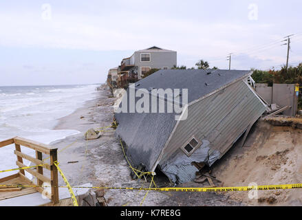 September 16, 2017- South Ponte Vedra Beach, Florida, United States - The surf continues to hit a beachfront home - Stock Photo