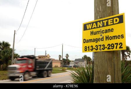 September 16, 2017- South Ponte Vedra Beach, Florida, United States - A truck is seen passing a sign seeking hurricane - Stock Photo