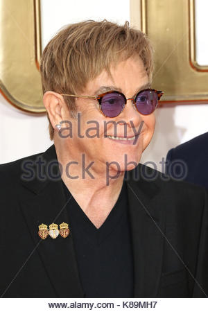 London, UK. 18th Sep, 2017. Elton John attends the world premiere of Kingsman: The Golden Circle at Leicester Square - Stock Photo