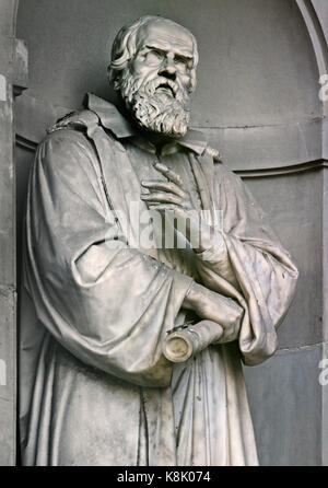 Galileo Galilei 1564 – 1642 was an Italian polymath: astronomer, physicist, engineer, philosopher, and mathematician.Statue - Stock Photo