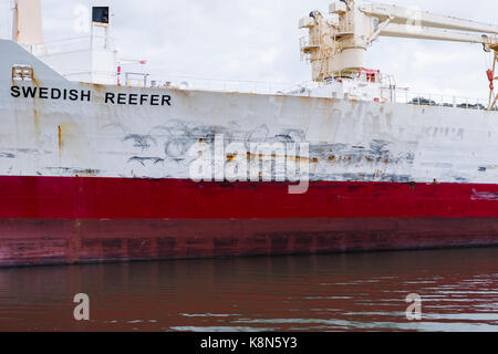 Reefer ships, refrigerated cargo ships used to transport perishable goods, laid up up in the Fal River, Falmouth, - Stock Photo