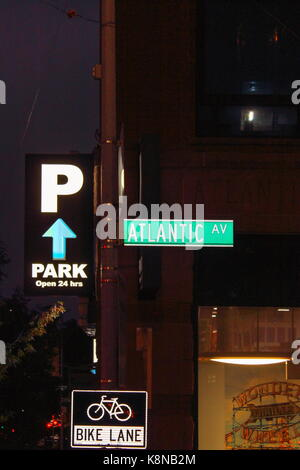 New York, USA - 28 September, 2016: Street Sign for Atlantic Avenue an important street in the New York City boroughs - Stock Photo