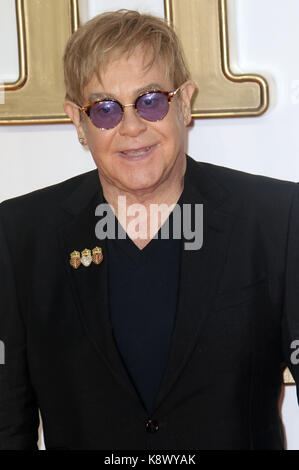 LONDON - SEP 18, 2017: Sir Elton John attends the Kingsman: The Golden Circle World Premiere at Odeon Leicester - Stock Photo