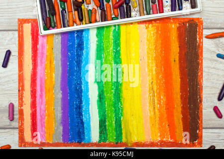 Photo of colorful oil pastels drawing texture for background. - Stock Photo