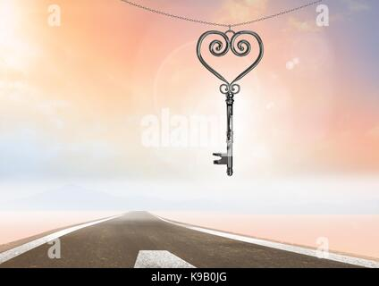 Digital composite of 3D Heart Key floating over road - Stock Photo