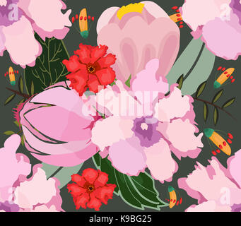 Beautiful seamless floral pattern. Flower background - Stock Photo